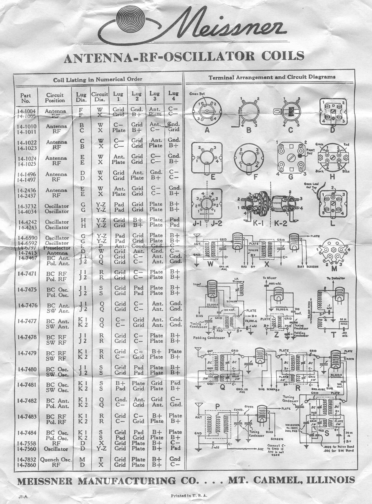 Vintage Data Sheets for Coils, Transformers, and Other Tube