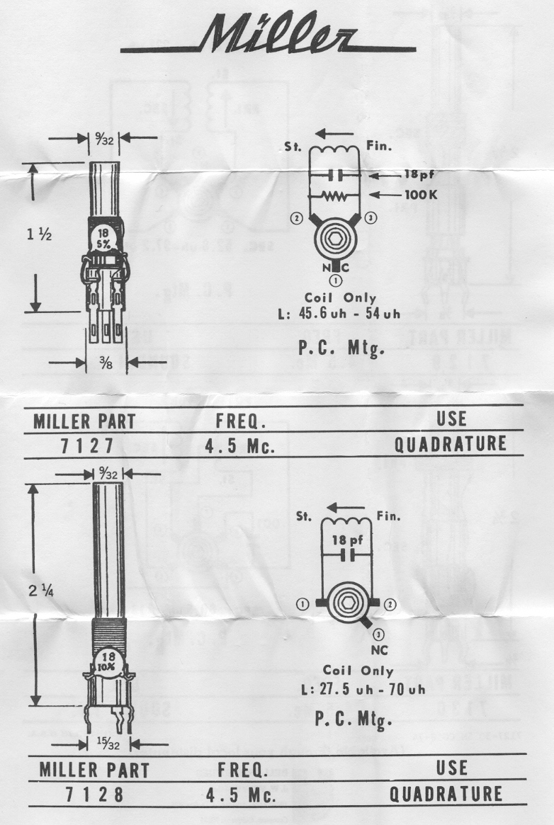 Vintage Data Sheets For Coils Transformers And Other Tube Era Quad Coil Subwoofer Wiring Diagram Parallel On The Miller 7127 7128 45 Mhz Tv Quadrature