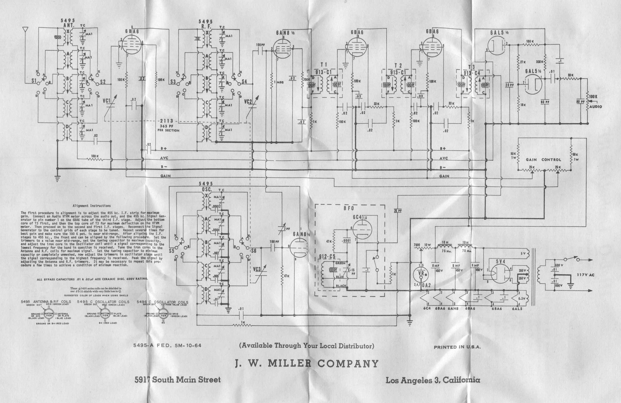 Vintage Data Sheets For Coils Transformers And Other Tube Era Sync Engineering Schematics Miller Horizontal Oscillator Side 1