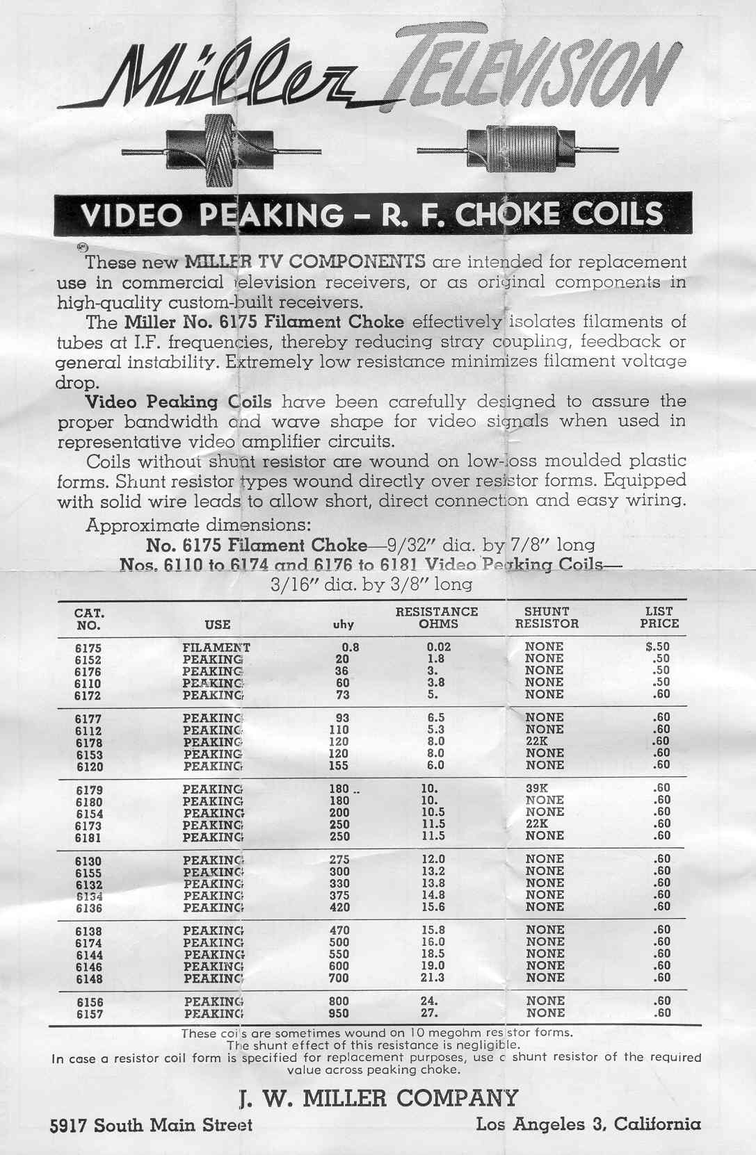 Vintage Data Sheets for Coils, Transformers, and Other Tube-Era